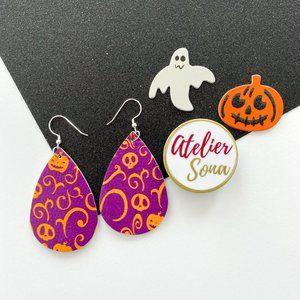 Halloween Tear Drop Earrings - Purple